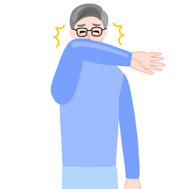 くしゃみをする老人、口の上の腕 - くしゃみ 日本人点のイラスト素材/クリップアート素材/マンガ素材/アイコン素材