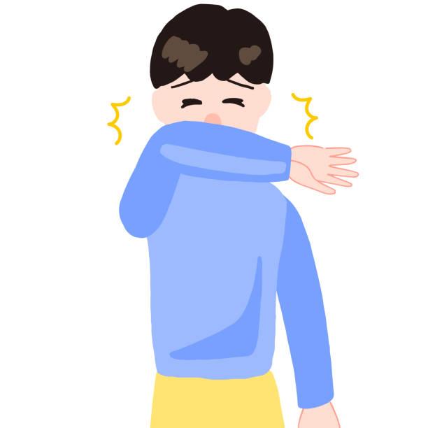 くしゃみをする少年、口の上の腕 - くしゃみ 日本人点のイラスト素材/クリップアート素材/マンガ素材/アイコン素材