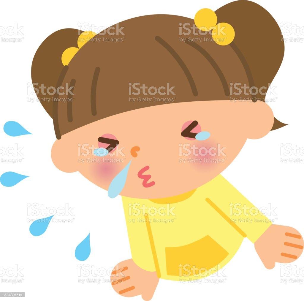 Sneezing child vector art illustration