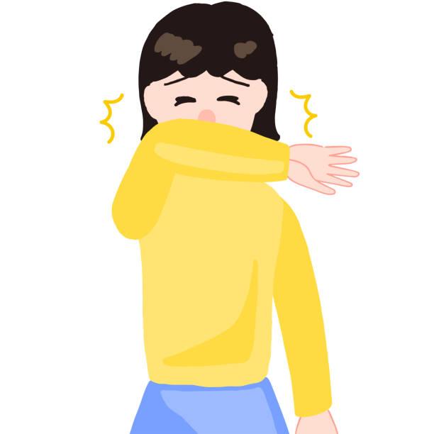 くしゃみをする少女、口の上の腕 - くしゃみ 日本人点のイラスト素材/クリップアート素材/マンガ素材/アイコン素材