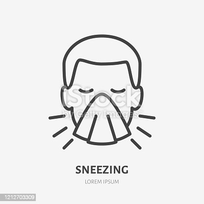 istock Sneezing man line icon, vector pictogram of flu or cold symptom. Man covering cough with napkin illustration, sign for medical poster 1212703309