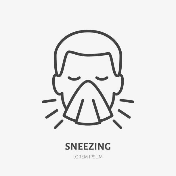 Sneezing man line icon, vector pictogram of flu or cold symptom. Man covering cough with napkin illustration, sign for medical poster Sneezing man line icon, vector pictogram of flu or cold symptom. Man covering cough with napkin illustration, sign for medical poster. covering stock illustrations