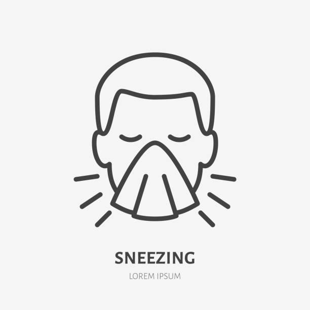 재채기 남자 라인 아이콘, 독감 또는 감기 증상의 벡터 그림. 냅킨 일러스트로 기침을 덮는 남자, 의료 포스터에 대한 기호 - 가리기 stock illustrations