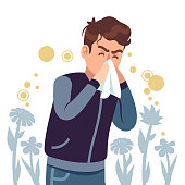 Sneezing man. Spring allergy, symptom sickness runny, itchy and sneeze, cough and lacrimation, healthcare chronicity problems flat vector concept