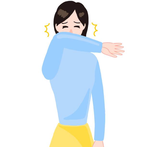 くしゃみをする女性、口の上の腕 - くしゃみ 日本人点のイラスト素材/クリップアート素材/マンガ素材/アイコン素材