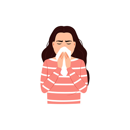 Sneezing woman covers mouth and nose with tissue on white background. Cough, sneeze into a handkerchief concept Good respiratory hygiene icon Flu virus cold allergy symptom Medical vector illustration