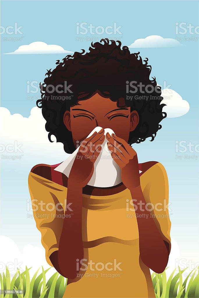 Sneezing woman royalty-free stock vector art