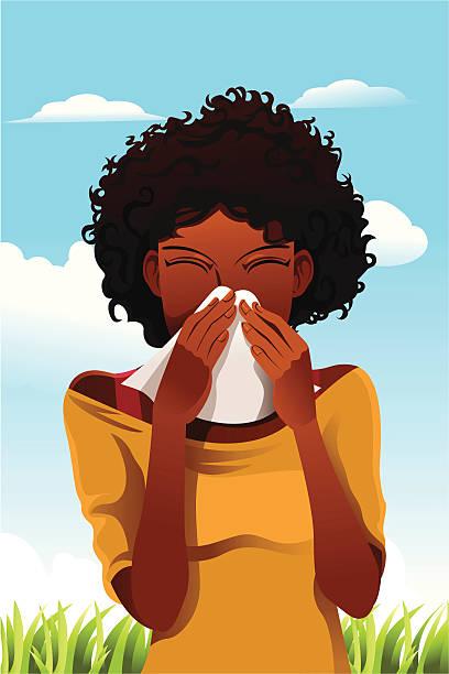Sneezing woman vector art illustration