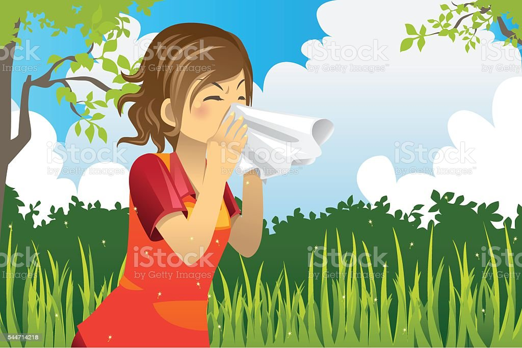 Sneezing woman vector art illustration