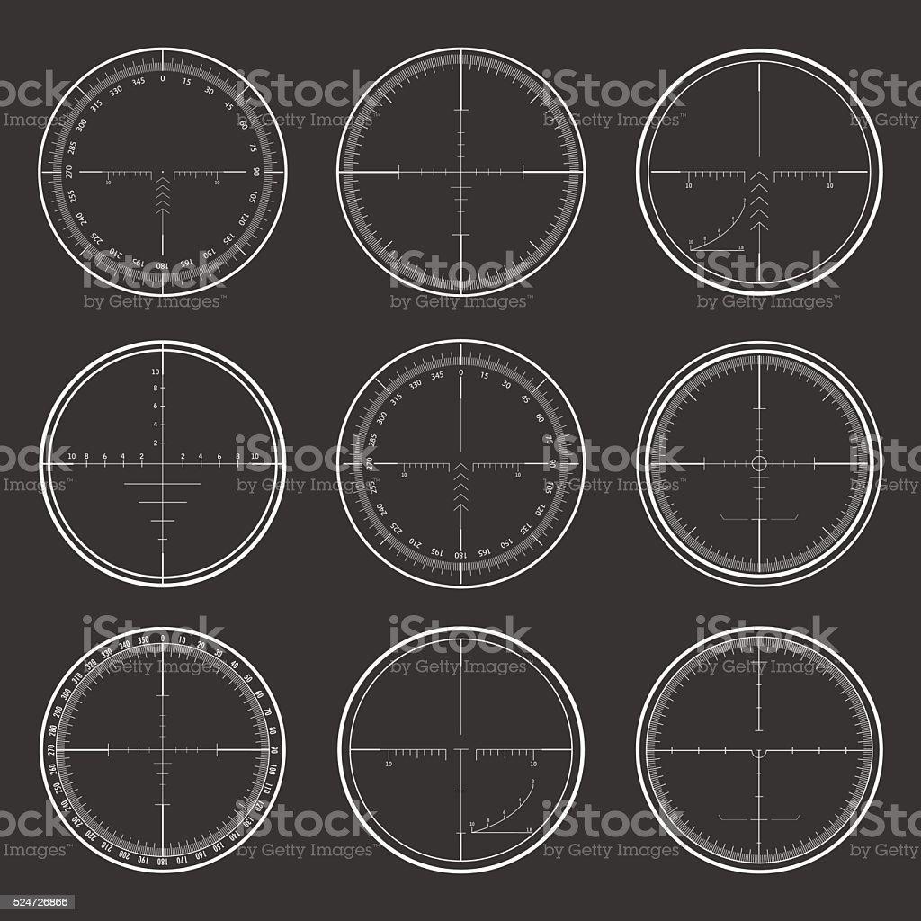 Francotirador puntos mira conjunto - ilustración de arte vectorial