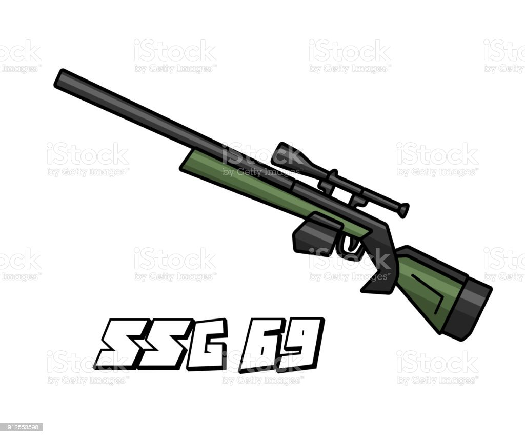 sniper riffle weapon model ssg69 cartoon design vector art illustration