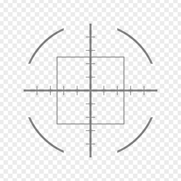 Sniper rifle aim isolated on transparent background. Crosshair target choose destination icon. Aim shoot focus cursor. Bullseye mark targeting. Game aiming sight dot pointer. Vector illustration vector art illustration