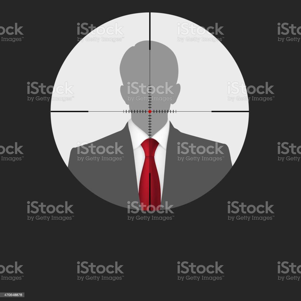 Sniper scope crosshair man silhouette. vector art illustration