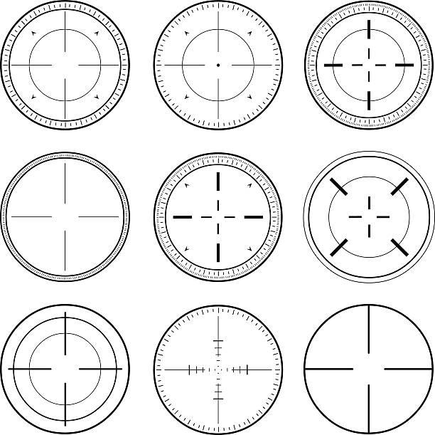 Sniper Scope Target Ink Set vector art illustration