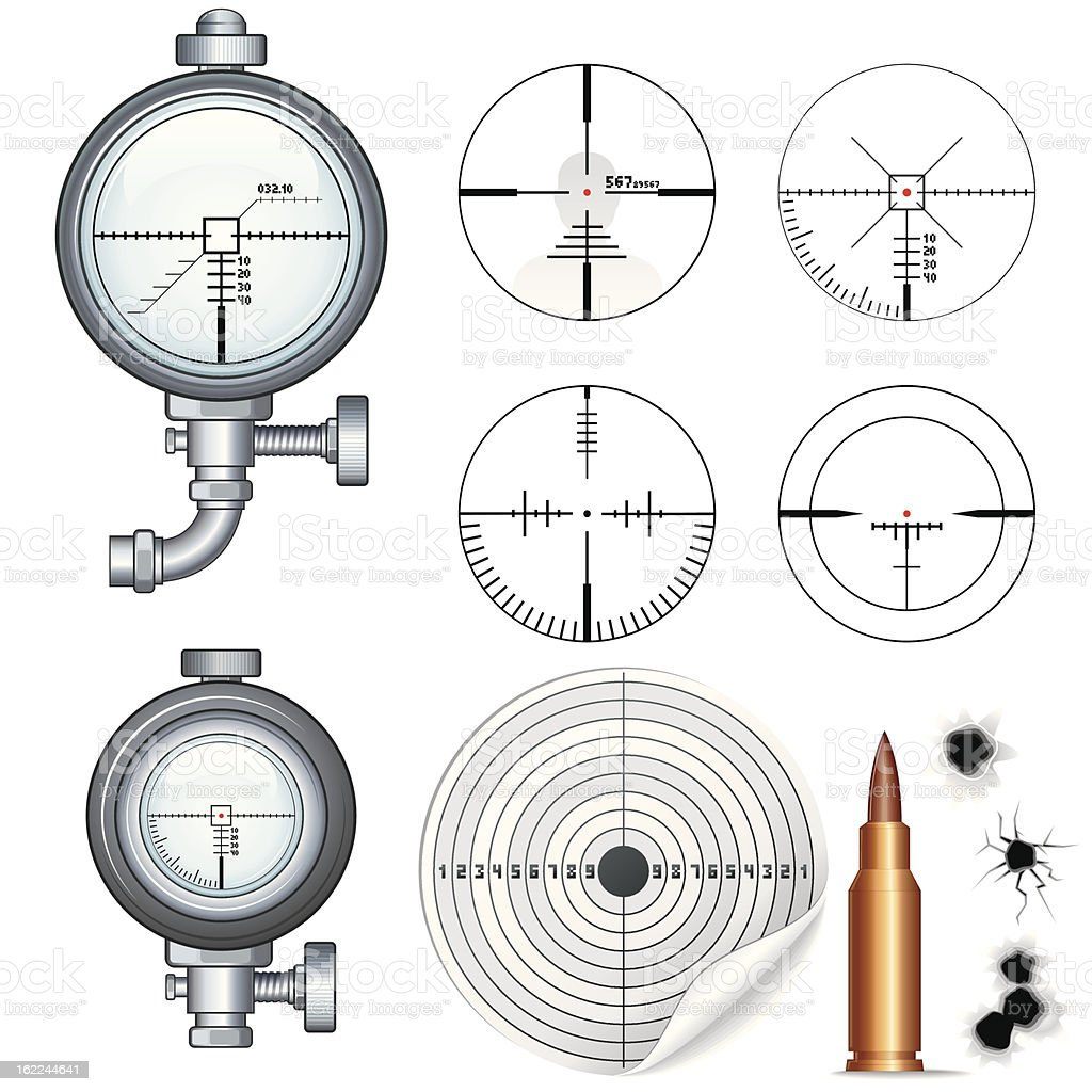Sniper Scopes and Crosshairs. Vector Image royalty-free sniper scopes and crosshairs vector image stock vector art & more images of ak-47