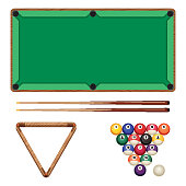 Snooker and pool gaming elements isolated on white. Billiard table