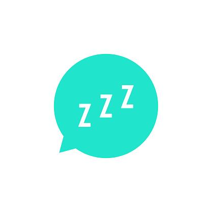 snoring sign in green speech bubble. concept of sleeping, insomnia, alarm clock app, deep sleep, awakening. isolated on white background. flat style trend modern design vector illustration