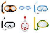Snorkel masks for diving and swimming of different types. Vector cartoon flat icons set isolated on white background.