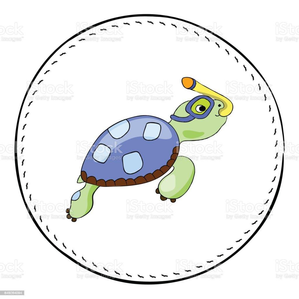 Beyaz Arka Plan üzerinde Izole şnorkel Kaplumbağa Deniz Kaplumbağası