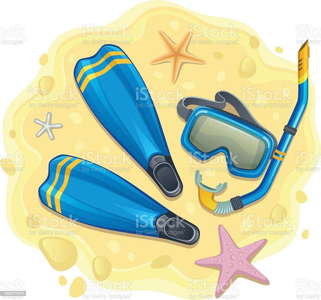 Snorkeling set vector art illustration