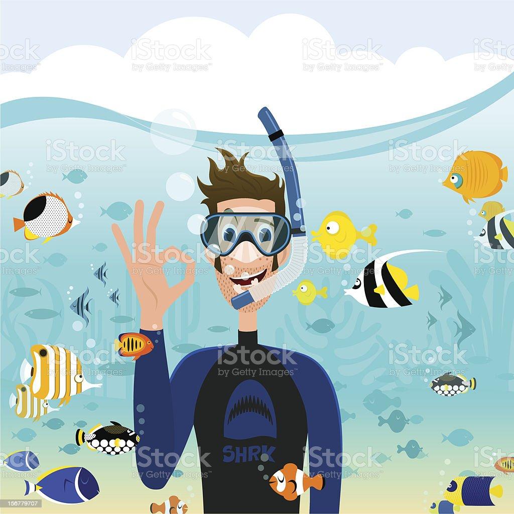 snorkeling vector art illustration