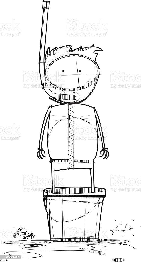 Snorkelling in Bucket vector art illustration