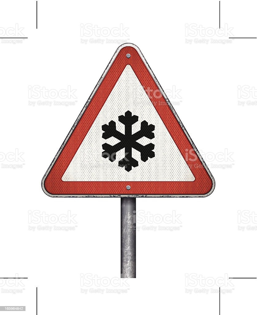 snow ahead warning sign royalty-free stock vector art
