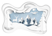 Couple deers on snow and winter season abstract background with mountains and nature landscape for merry christmas and happy new year paper art style.Vector illustration.