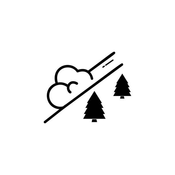 snow avalanche icon. Simple winter elements icon. Can be used as web element, playing design icon snow avalanche icon. Simple winter elements icon. Can be used as web element, playing design icon on white background avalanche stock illustrations
