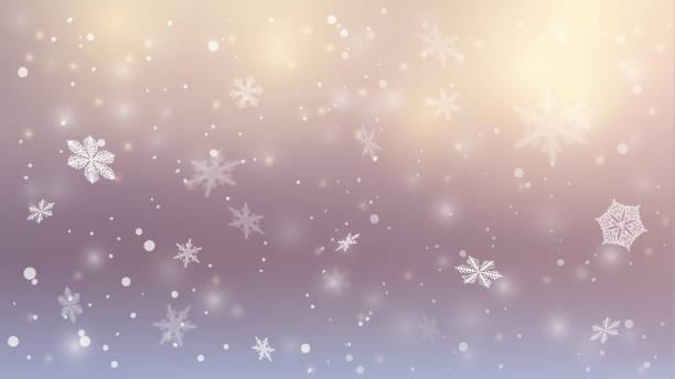 schnee hintergrund. winterblauer himmel. weihnachten hintergrund. fallender schnee. schneeflocken wirbeln in der frostigen luft. eps 10 - schneeflocke sonnenaufgang stock-grafiken, -clipart, -cartoons und -symbole