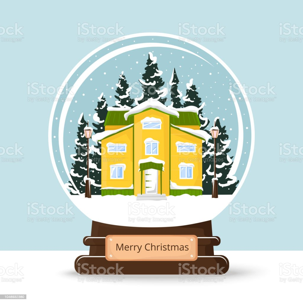 Snow ball with winter house, snowing, fir trees, Magic transparent...