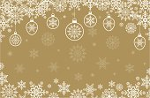 Retro styled snowflakes & hanging baubles border design with space for copy to be applied. On a gold background.