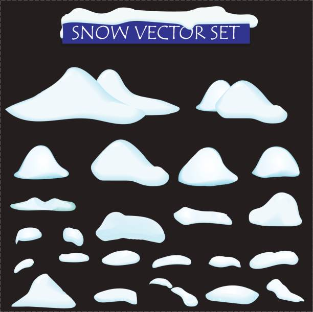 snow big set cartoon. snowdrift in vector. Set of different bank of snow, isolated. Video Game, mobile, app snow big set cartoon. snowdrift in vector. Set of different bank of snow, isolated. Video Game, mobile app snowdrift stock illustrations