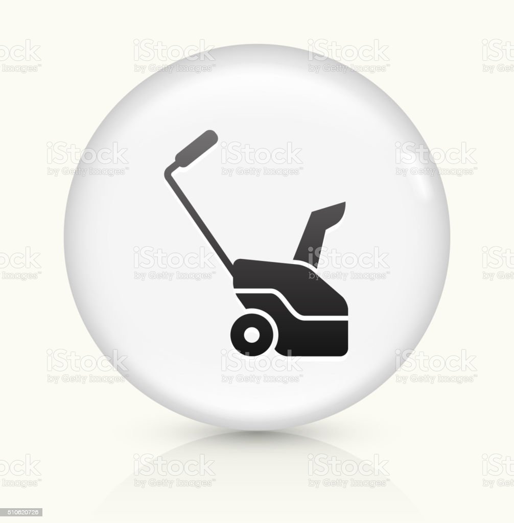 Snow blower Grass cutter icon on white round vector button vector art illustration