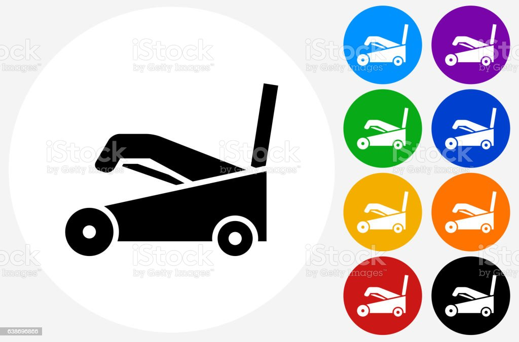 Snow Blower Icon on Flat Color Circle Buttons vector art illustration