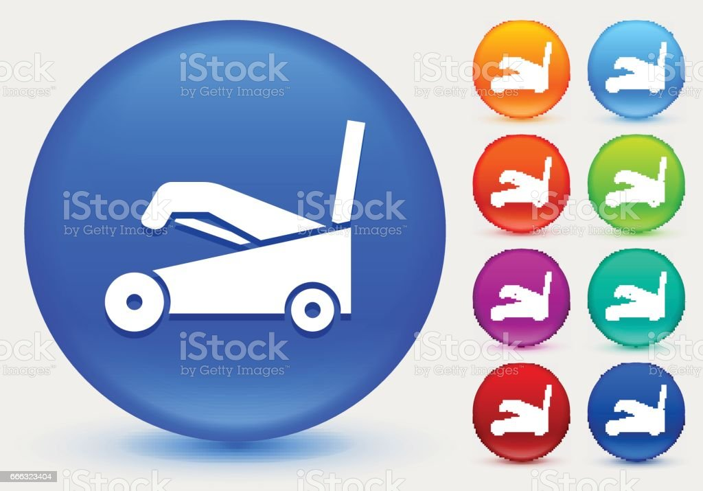 Snow Blower Icon on Shiny Color Circle Buttons vector art illustration