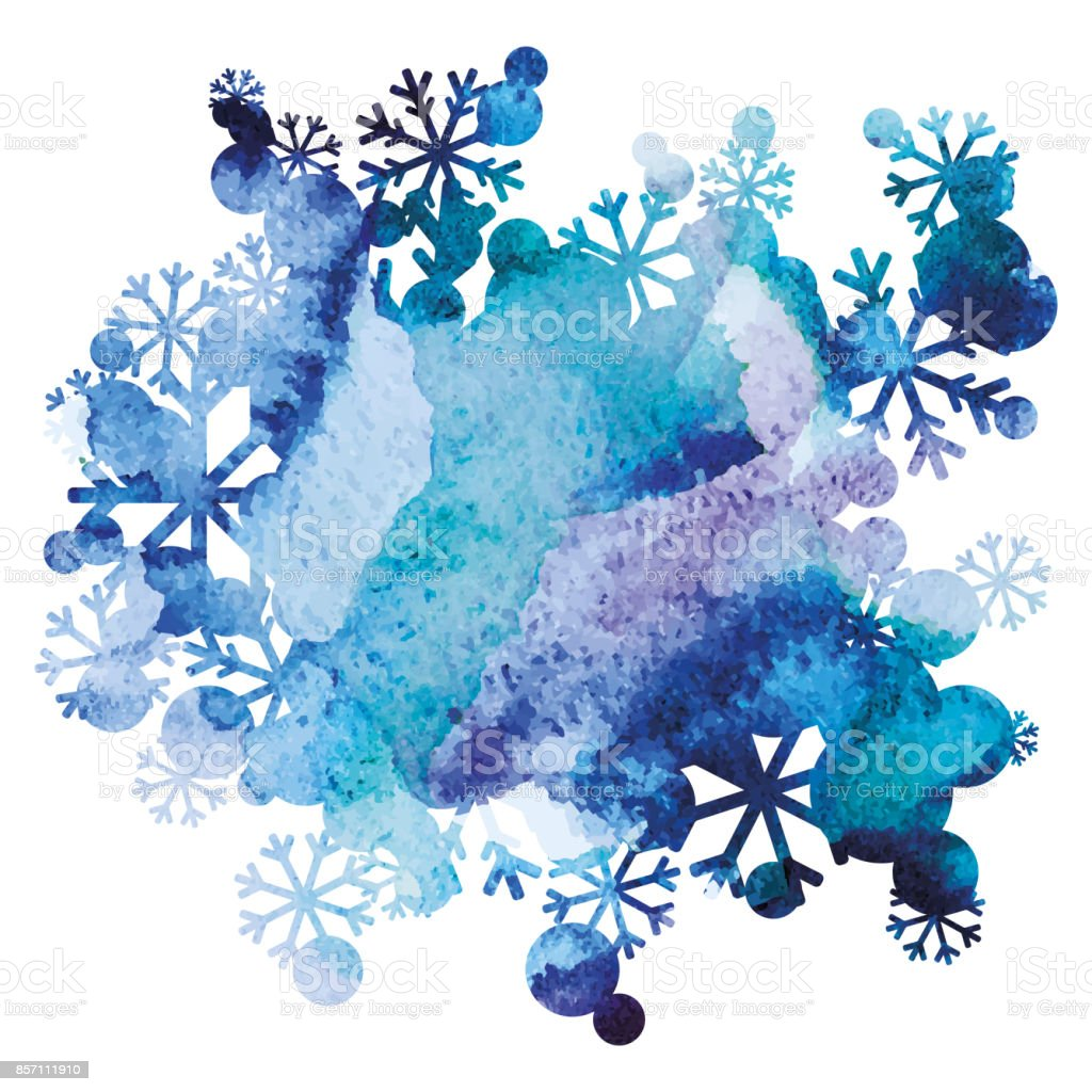 雪の花束、手作りの塗られた背景、紫、青の水彩画のイメージ、抽象的なベクトル デザイン アート ベクターアートイラスト