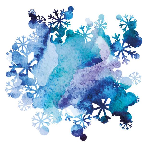 雪の花束、手作りの塗られた背景、紫、青の水彩画のイメージ、抽象的なベクトル デザイン アート - 冬点のイラスト素材/クリップアート素材/マンガ素材/アイコン素材