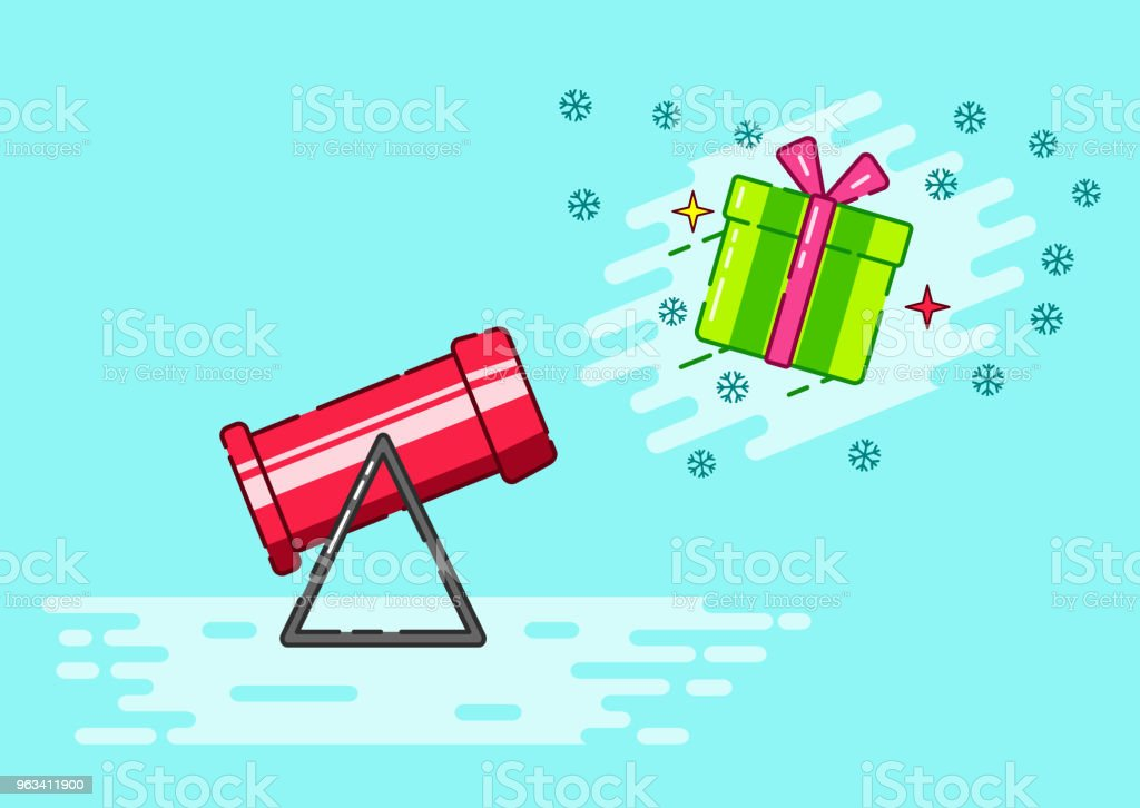 Snow cannon and flying gift box - Grafika wektorowa royalty-free (Abstrakcja)