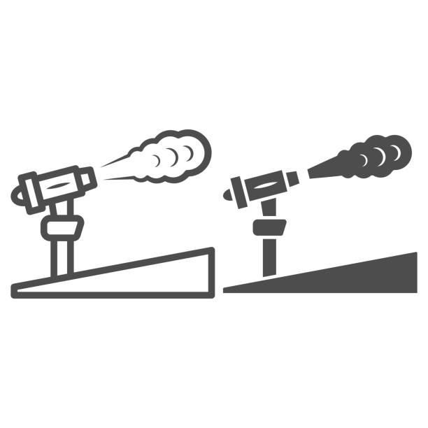 kar topu hattı ve katı simgesi, dünya kar günü konsepti, kayak merkezi ve beyaz arka plan üzerinde ekipman sembolü, mobil konsept ve web tasarımı için anahat tarzıkar makinesi simgesi. vektör grafikleri. - mountain top stock illustrations