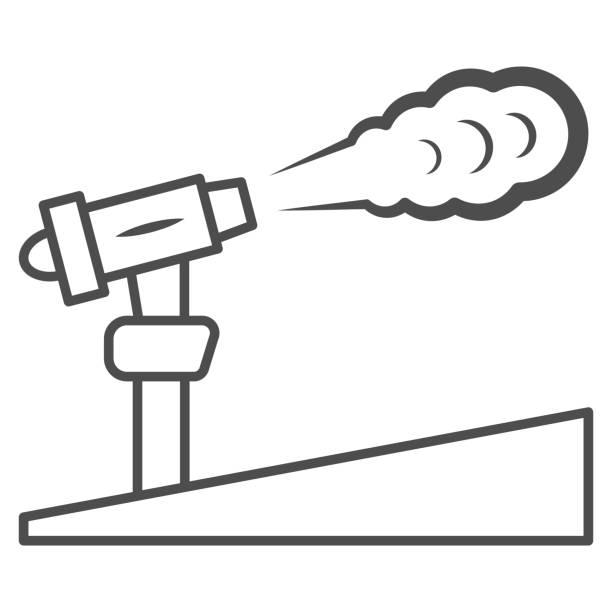 snow cannon ince çizgi simgesi, dünya kar günü konsepti, kayak merkezi ve beyaz arka plan üzerinde ekipman sembolü, mobil konsept ve web tasarımı için anahat tarzıkar makinesi simgesi. vektör grafikleri. - mountain top stock illustrations