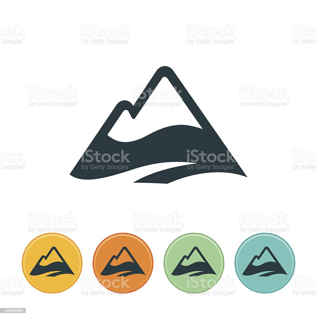 Snow Capped Mountain Icon vector art illustration