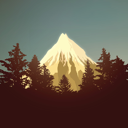 Beautiful mountain landscape with trees. Vector illustration. EPS10 glow effect.