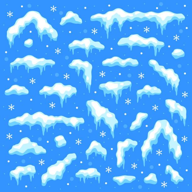 schneekappen. schneebälle und schneeverwehungen, schneefall und schneeflocken. winter dekoration weihnachten elemente cartoon vektor-set - eiszapfen stock-grafiken, -clipart, -cartoons und -symbole