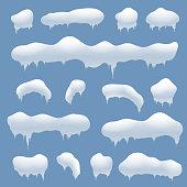 Snow caps, snowballs and snowdrifts vector set