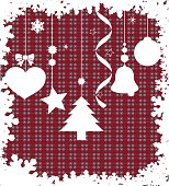 Illustration of several christmas related elements, in a simple composition.