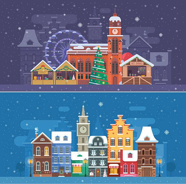 snow city and winter festival banners - weihnachtsmarkt stock-grafiken, -clipart, -cartoons und -symbole