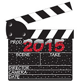 A director's 2015 snow clapper board isolated on a white background