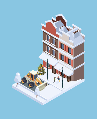 Snow cleaning. Storm winter cold weather vehicle urban ice cleaner garish vector isometric concept illustration 3d low poly