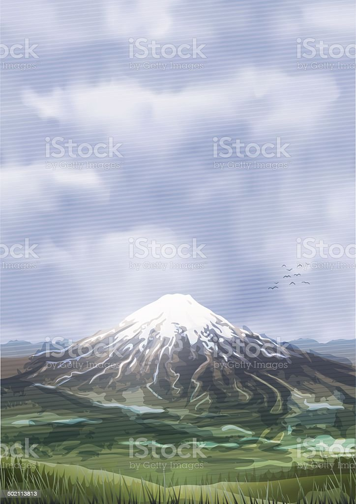 Snow covered cloudy mountain peak scenery royalty-free snow covered cloudy mountain peak scenery stock vector art & more images of achievement